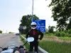 mit Helm auf dem Weg nach Odessa